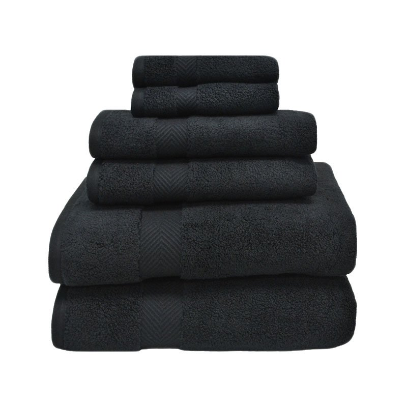 Supplier Generic Superior 100% Zero Twist Cotton Super Soft and Absorbent 6 - Piece Towel Set