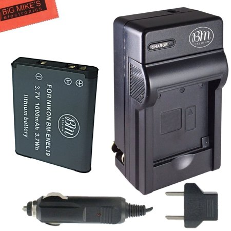 BM Premium EN-EL19 Battery and Charger for Nikon Coolpix S32, S33, S100, S3100, S3200, S3300, S3500, S3600, S3700, S4100, S4200, S4300, S5200, S5300, S6400, S6500, S6800, S6900, S7000 Digital Camera ()