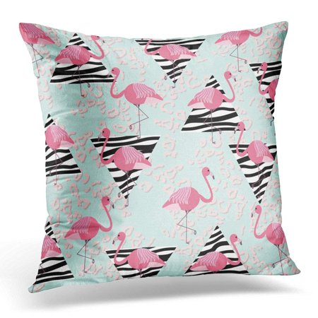 ARHOME Blue Summer with Pink Flamingos Zebra Triangles and Leopard Abstract Geometric Vintage in 90'S Style Throw Pillow Case Pillow Cover Sofa Home Decor 16x16