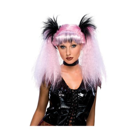 Anime Wigs For Sale (Womens Punk Goth Anime Clubbing Pink Black Raver Costume)