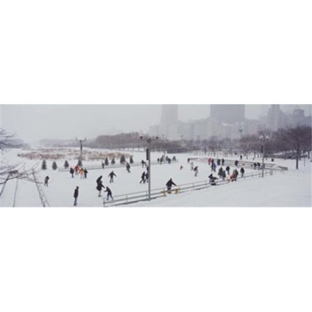 Group of people ice skating in a park  Bicentennial Park  Chicago  Cook County  Illinois  USA Poster Print by  - 36 x 12 - image 1 de 1