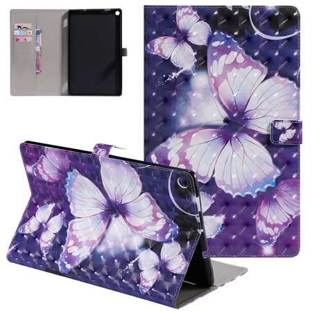 Fire HD 10 Case 7th Generation 2017 Released,Allytech Slim Fit 3D Pattern PU Leather Folio Stand Full Protective Drop Proof Cards Holder Wallet Case for Amazon Kindle Fire HD 10 2017,Purple