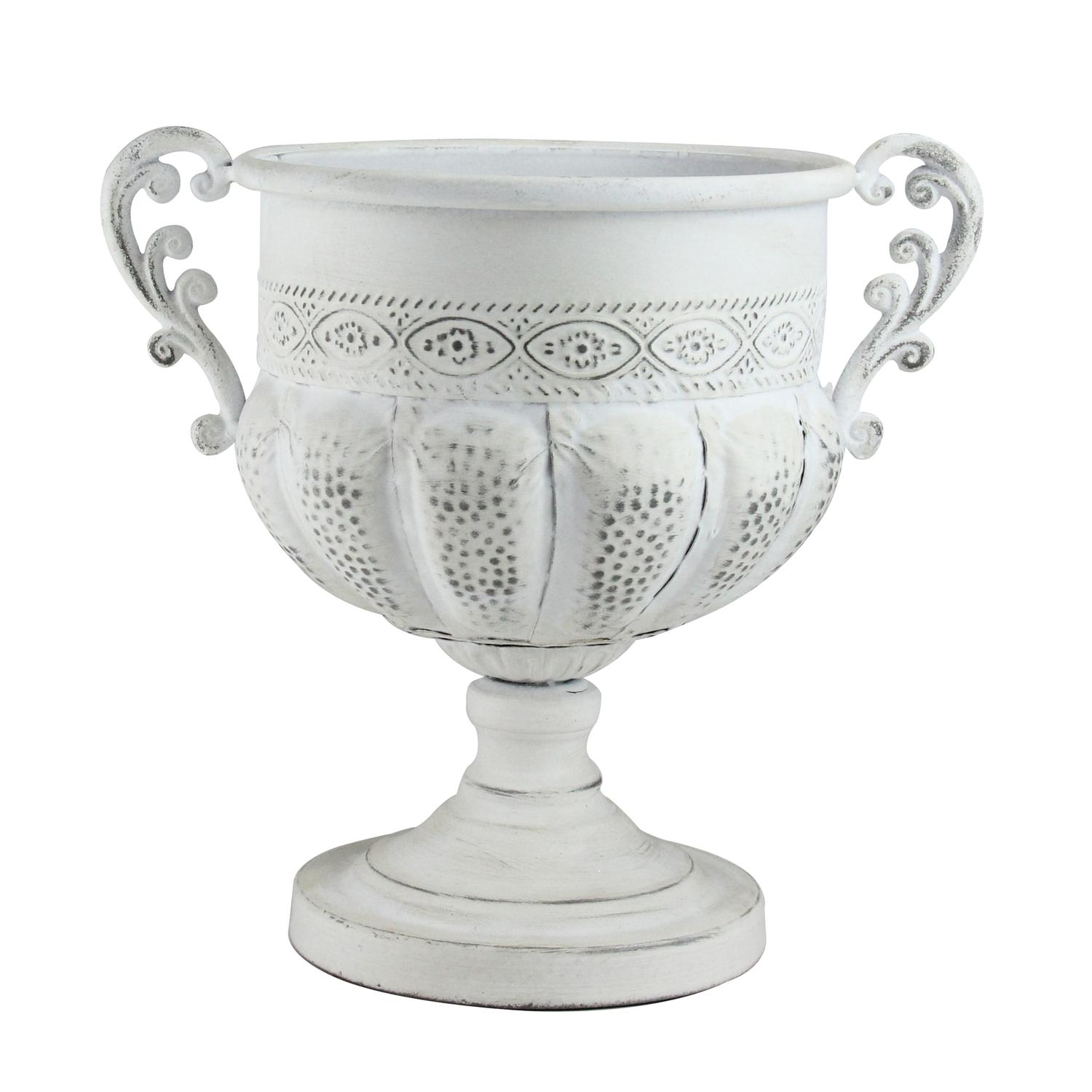 10.75� Roman Inspired Distressed Creamy White Decorative Urn Planter by Allstate