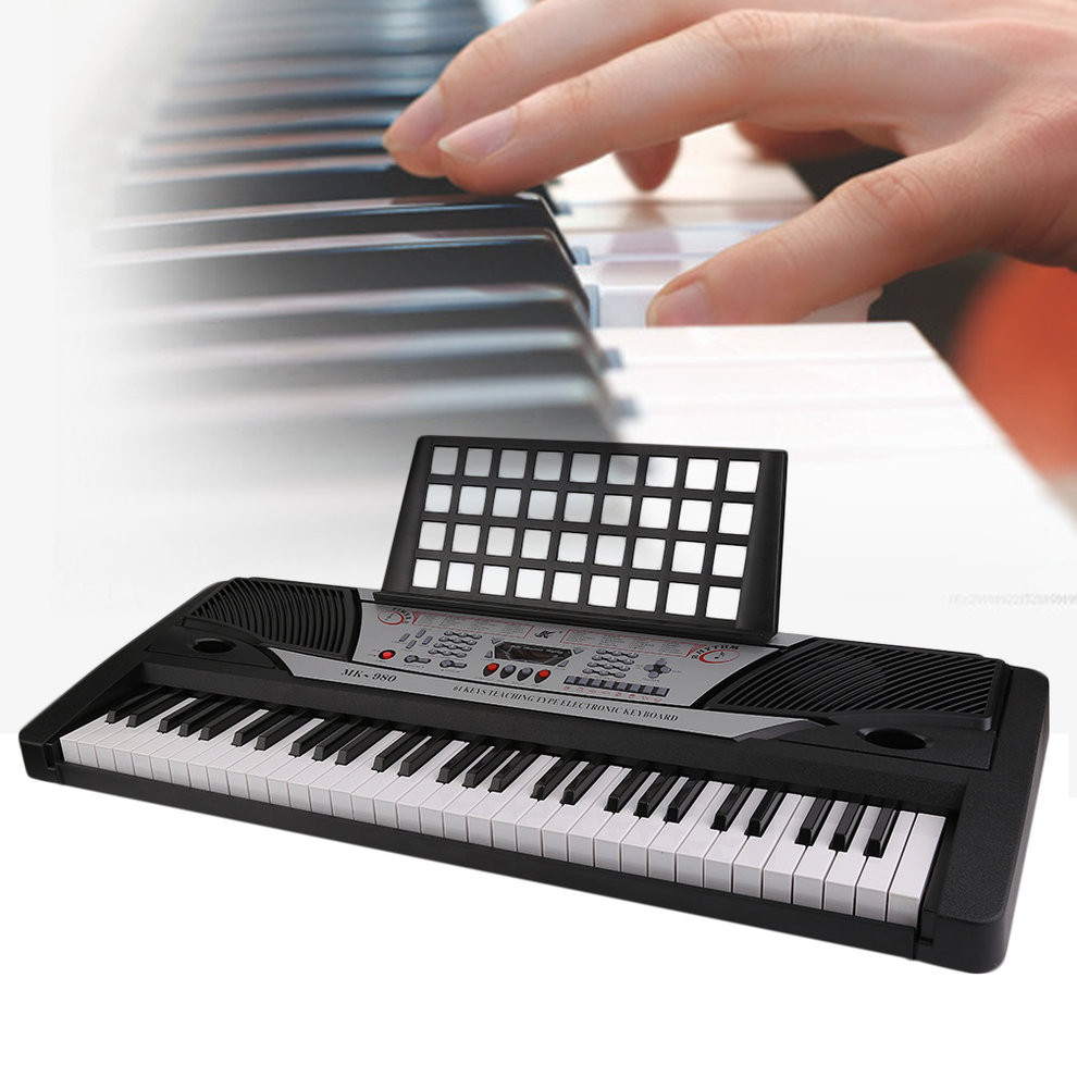 Black And Silver And White 61 Key Standard Keyboard MK-980 LED Display Electronic Piano Organ Professional Instrument Kids Children Chrismas Gift