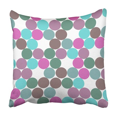 - ARHOME Blue Announcement Dot Pattern Teal Purple Green Aqua Baby Birthday Border Bright Pillowcase 20x20 inch