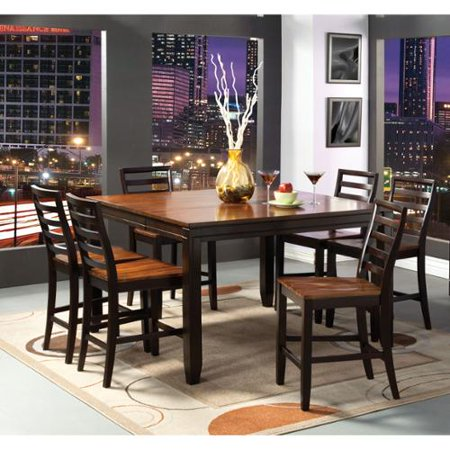 of america isa acacia and espresso 7 piece counter height dining set