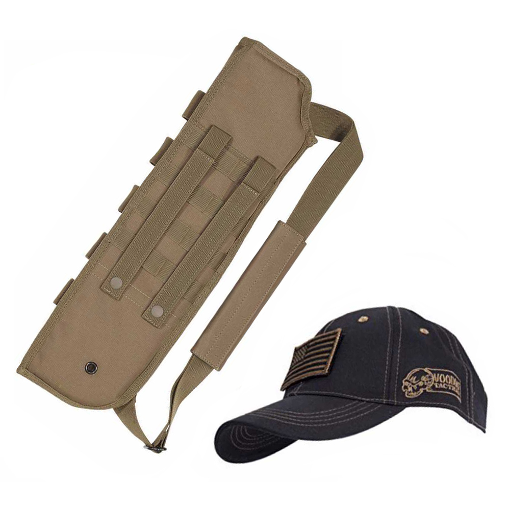 Voodoo Tactical Breacher's Shotgun Scabbard (Coyote) + Tactical Cap (Camo)