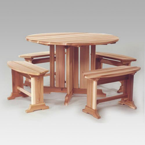 All Things Cedar Cresto Picnic Table and Bench Set - Western Red Cedar