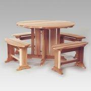 All Things Cedar Cresto Picnic Table & Bench Set - Western Red Cedar