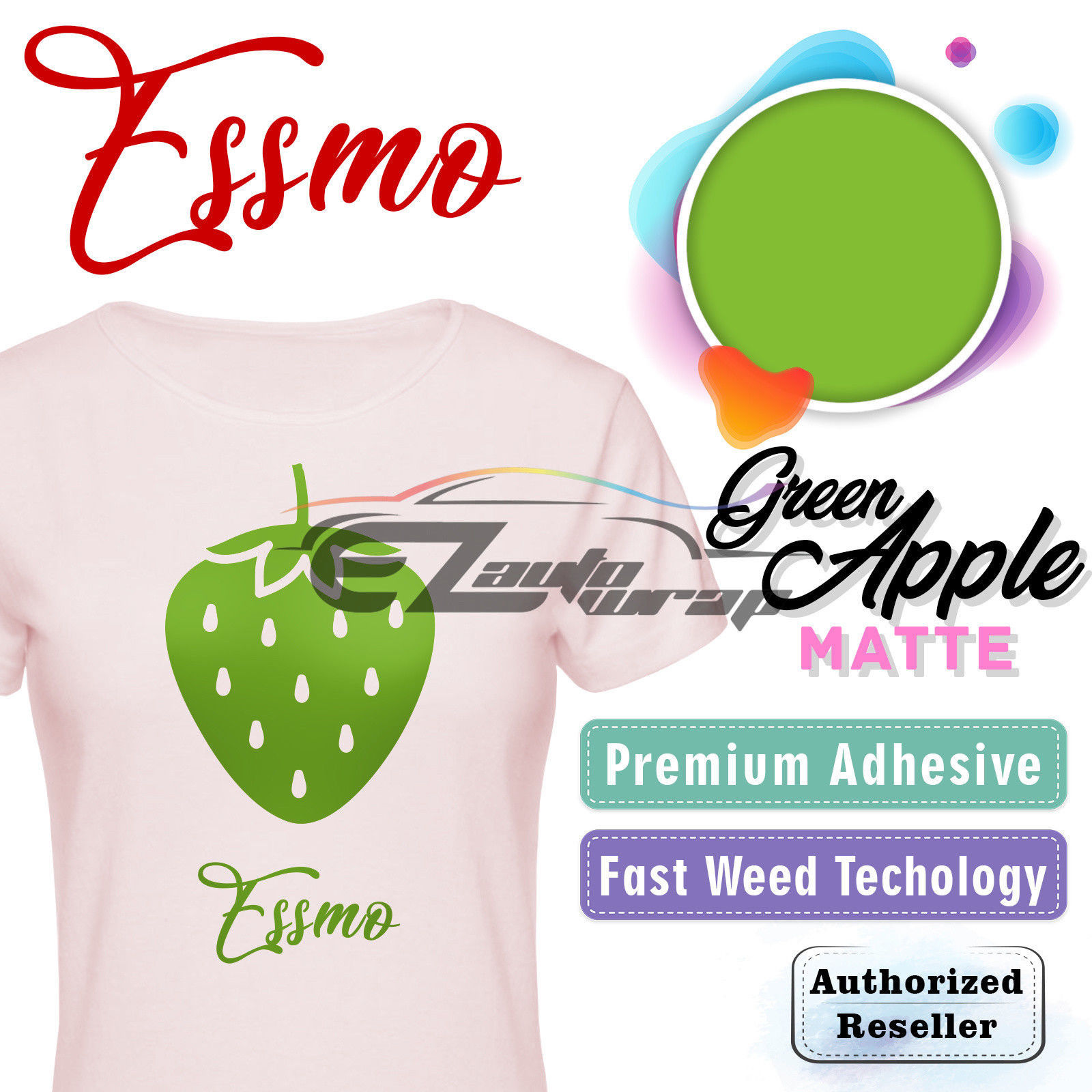 "ESSMO Green Apple Matte Solid Heat Transfer Vinyl HTV Sheet T-Shirt 20"" Wide Iron On Heat Press 20""x72"""