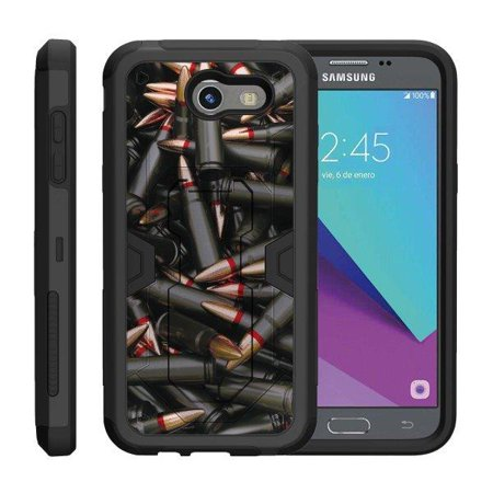 TurtleArmor ® | For Samsung Galaxy J3 Emerge | J3 (2017) | Amp Prime 2 [Shockproof Case] Protective Armor Hard Impact Case Kickstand Holster Belt Clip - Black