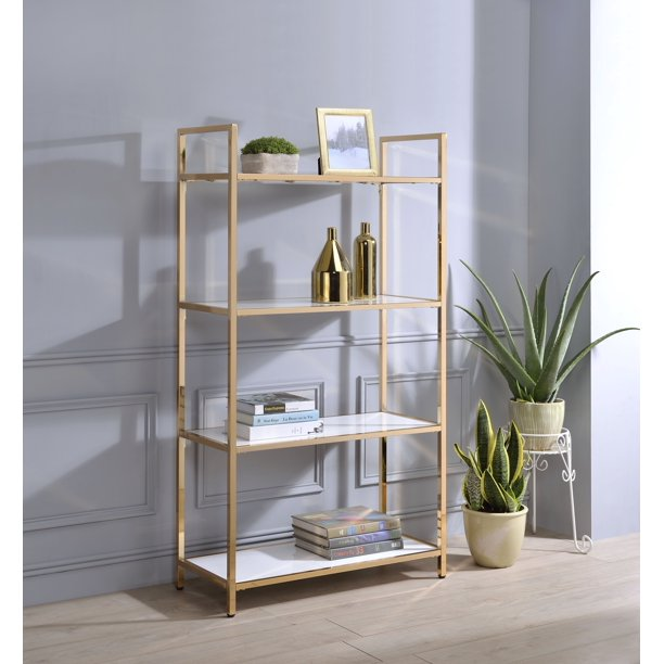 Acme Ottey Metal Frame Bookcase in White High Gloss and Gold