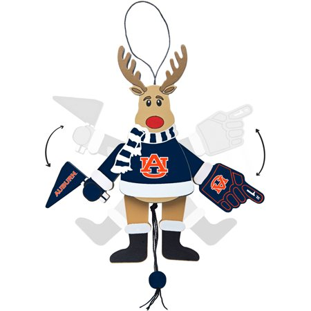 Topperscot by Boelter Brands NCAA Wooden Cheering Reindeer Ornament, Auburn University Tigers
