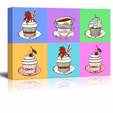 wall26 Canvas Wall Art - Multi-Color Pop Art with Cupcakes - Giclee Print Gallery Wrap Modern Home Decor Ready to Hang - 12