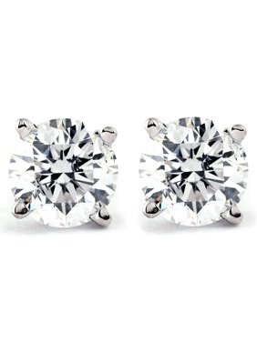 Genuine Diamond Stud Earrings (I2-I3 Clarity, IJ Color)