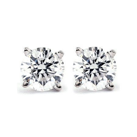 Yellow Gold Metal Fashion Earrings (1/2Ct Round Brilliant Cut Diamond Stud Earrings in 14K White or Yellow Gold )