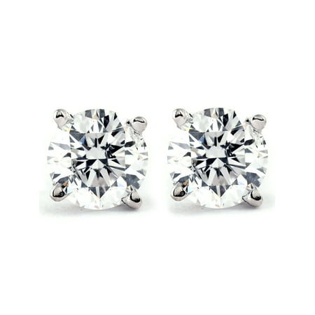 1/2Ct Round Brilliant Cut Diamond Stud Earrings in 14K White or Yellow