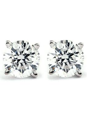 Genuine Diamond Stud Earrings (I2-I3 Clarity, IJ Color)