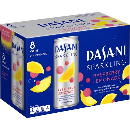 (3 Pack) Dasani Purified Sparkling Water, Raspberry Lemonade, 12 Fl Oz, 8 Ct