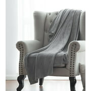 "Microlight Plush Solid Fleece Throw Blanket, Gray, 50"" x 60"""