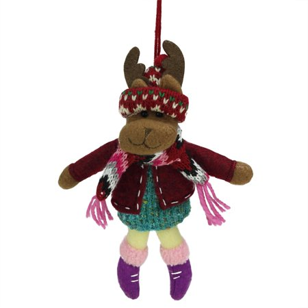 "7"" Bohemian Holiday Plush Moose Girl with Dangling Legs Christmas Ornament - image 1 of 1"