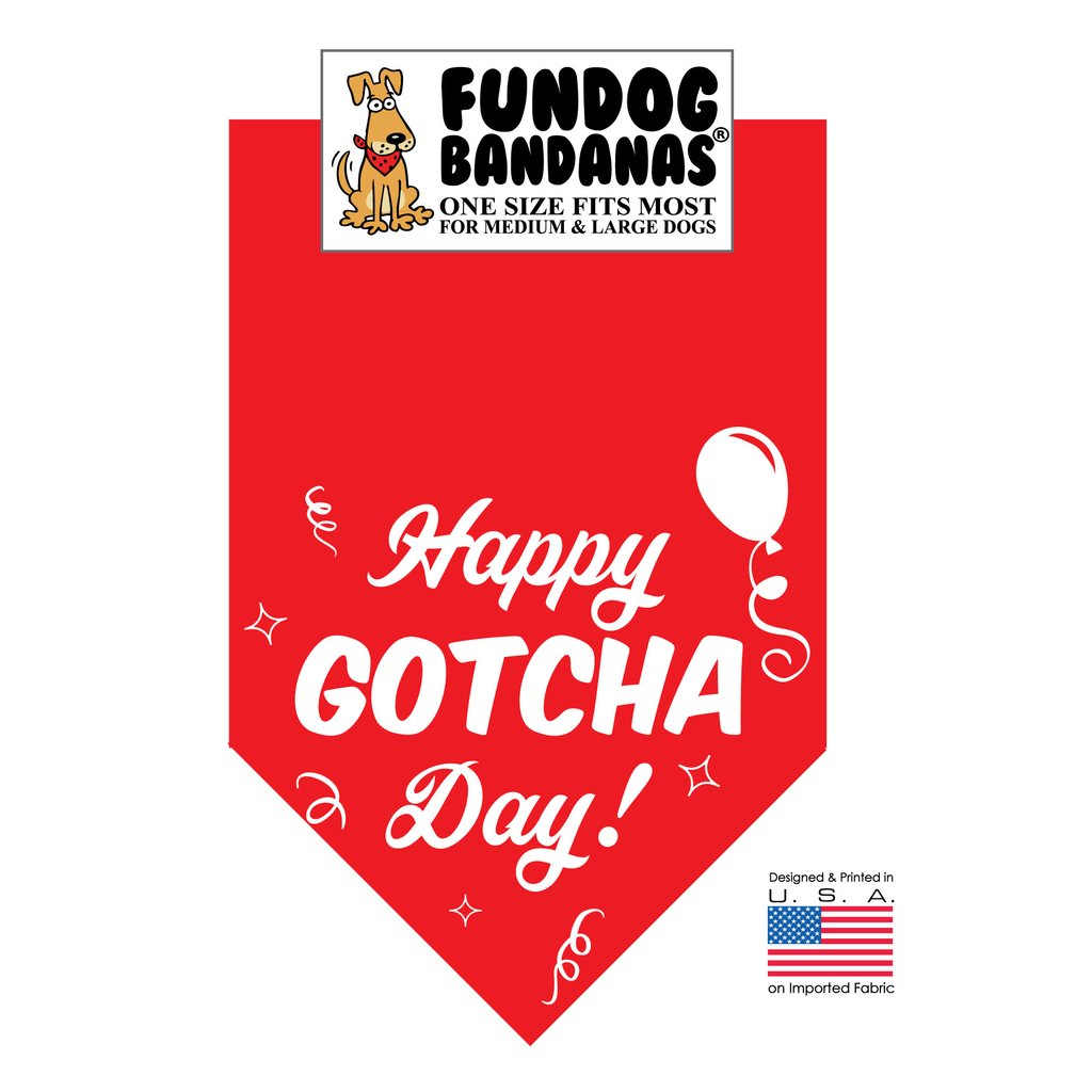 Fun Dog Bandana - Happy Gotcha Day! - One Size Fits Most for Medium to Large Dogs, red pet scarf