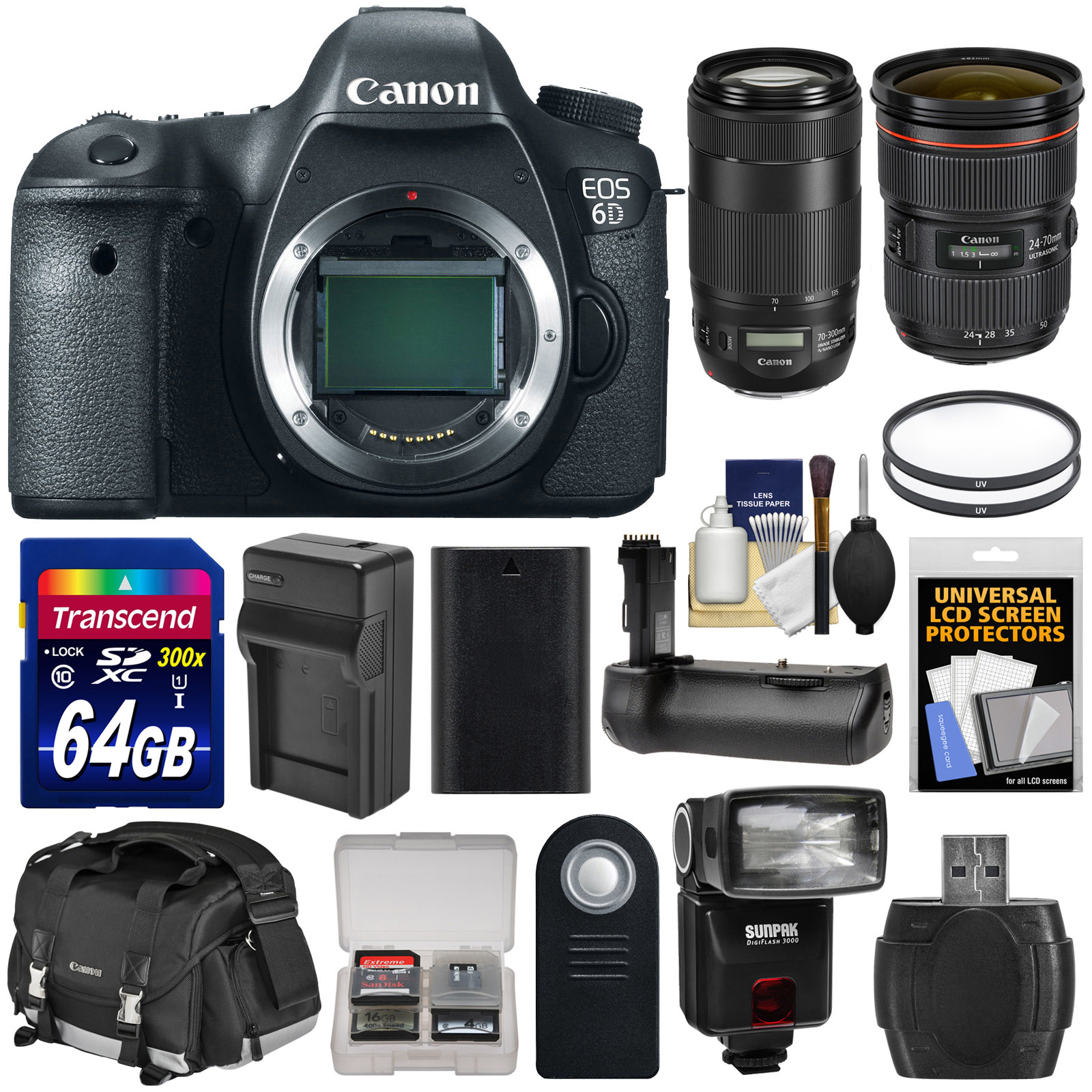 Canon EOS 6D Digital SLR Camera Body with 24-70mm f 2.8 L II & 70-300mm IS Lenses + 64GB Card + Case + Flash + Grip +... by Canon