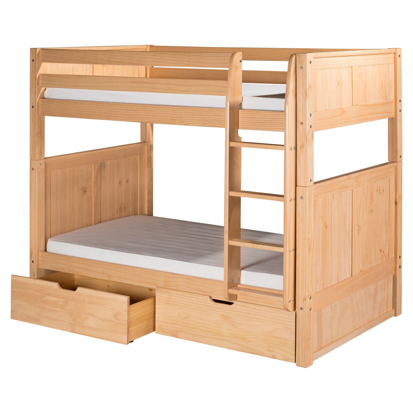 Camaflexi Twin over Twin Bunk Bed with Twin Trundle - Panel Headboard - Natural Finish
