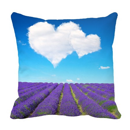 YKCG Lavender Blooming Scented Fields Purple Flowers Heart Shaped Love Pillowcase Pillow Cushion Case Cover Twin Sides 18x18 inches