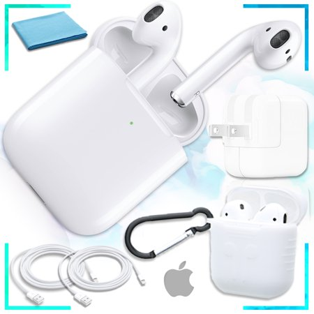 Genuine AirPods with Wireless Charging Case (2nd Generation) with Extreme Airpod protective Case (White), USB Power Adapter, Bonus USB to Light Cord Bundle