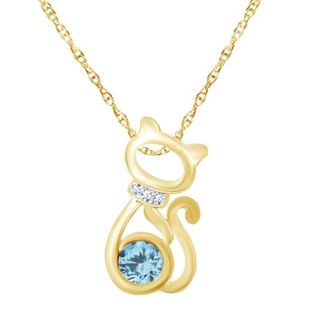 Round Shape Simulated Blue Aquamarine & White CZ 14K Yellow Gold Over Sterling Silver Cat Pendant Necklace