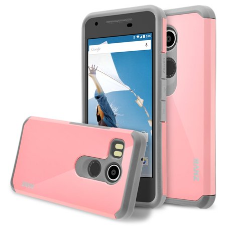 Nexus 5X Case, RANZ Grey with Pink Hard Impact Dual Layer Shockproof Bumper Case For LG Nexus (Best Lg Nexus 5x Case)