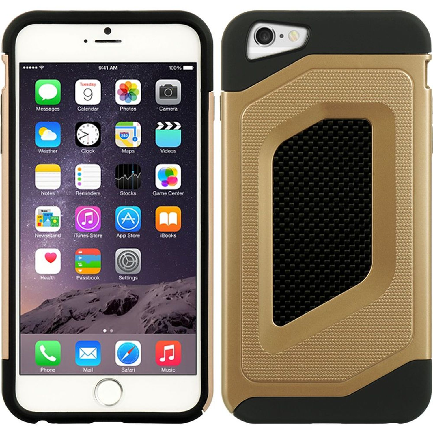 Insten Hard Hybrid TPU Cover Case for Apple iPhone 6s Plus / 6 Plus - Black/Gold
