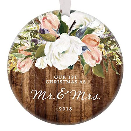 Rustic Newlyweds Christmas Ornament, 2019 First Christmas as Mr & Mrs Gift for Couple Wedding Day Farmhouse Floral Present 3