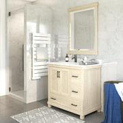 Dorel Living Sunnybrooke 36 Inch Bathroom Vanity w/ Sink, Rustic White