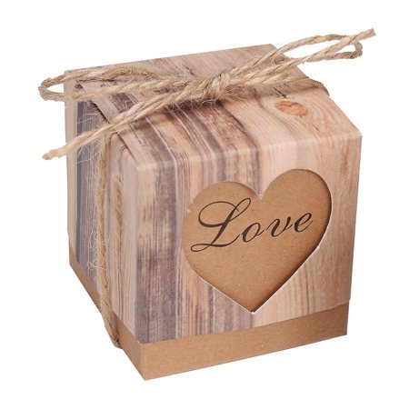 Vintage Baby Shower Decorations (Meigar 50/100pcs Lover Words Wedding Favors Candy Boxes 2x2x2Inch Love Heart Rustic Kraft Gifts Bonbonniere Favor for Vintage Bridal Shower Party Birthday Baby Shower)