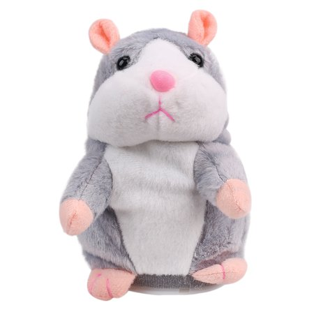 Adorable Gift Toy Talking Hamster Mouse Records Speech Kids Cute Nod Mimicry Repeat Pet Plush Doll - Repeats What You Say, Grey