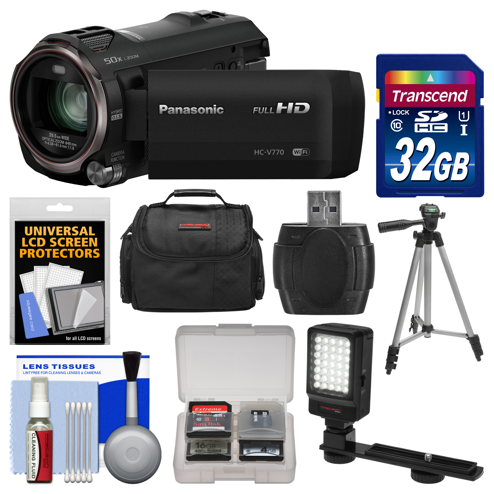 Panasonic HC-V770 Wireless Smartphone Twin Recording Wi-Fi HD Video Camera Camcorder with 32GB Card + Case + LED Light + Tripod + Kit