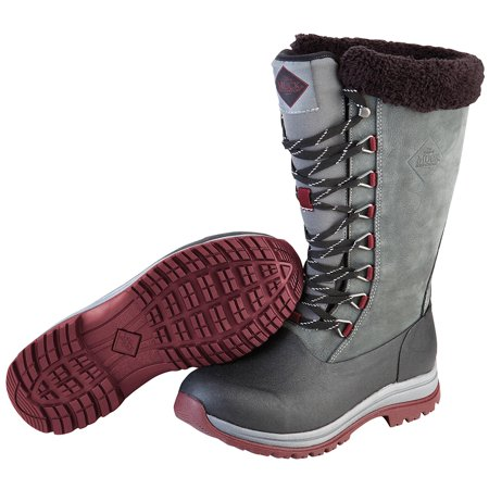 - Muck Boot Women's Apres Lace 13'' Tall Snow Boots Grey Leather Neoprene Rubber Fleece 7 M