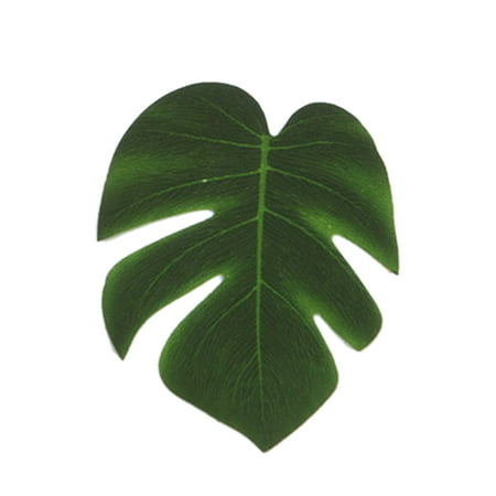 5Pcs Simulation Plant Silk Cloth Fake Palm Leaves Flower Arrangement Ornament Monstera Leaf Artificial Party Jungle Beach Theme Decorations (Theme Beach)