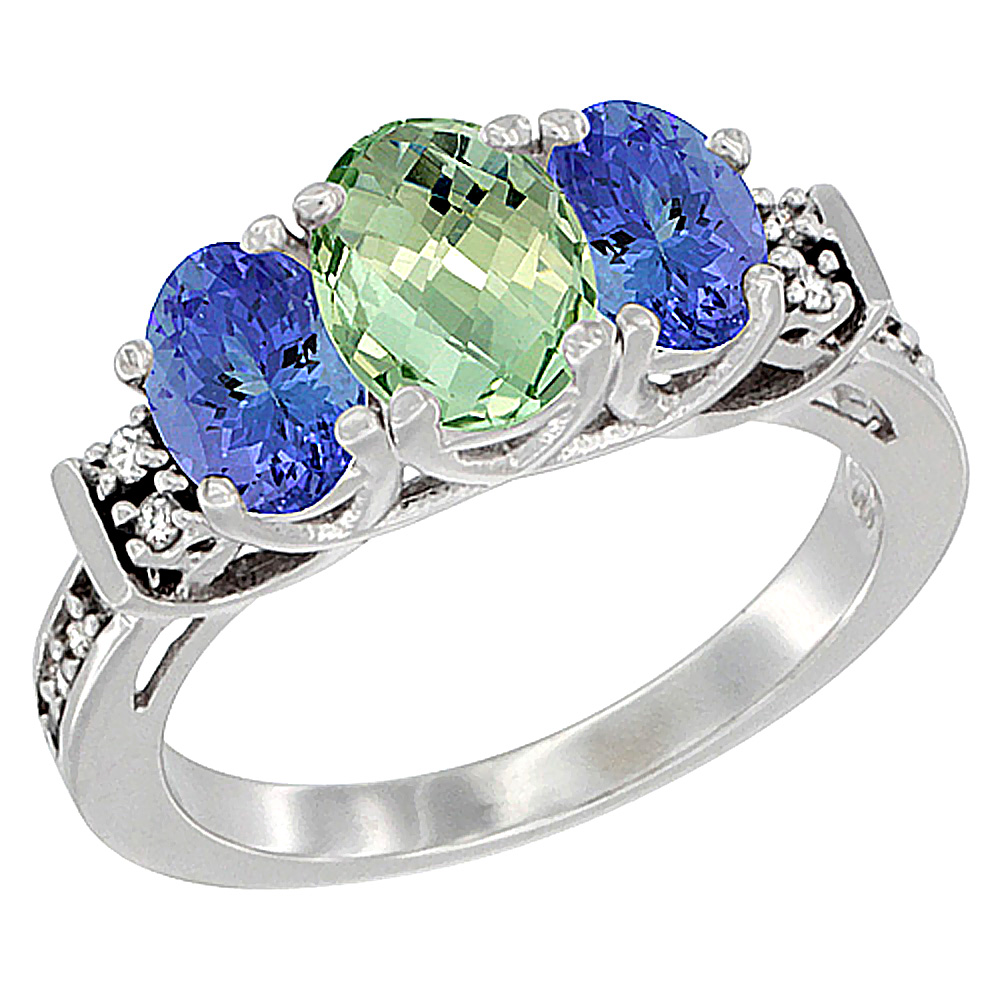 10K White Gold Natural Green Amethyst & Tanzanite Ring 3-Stone Oval Diamond Accent, sizes 5-10 by WorldJewels