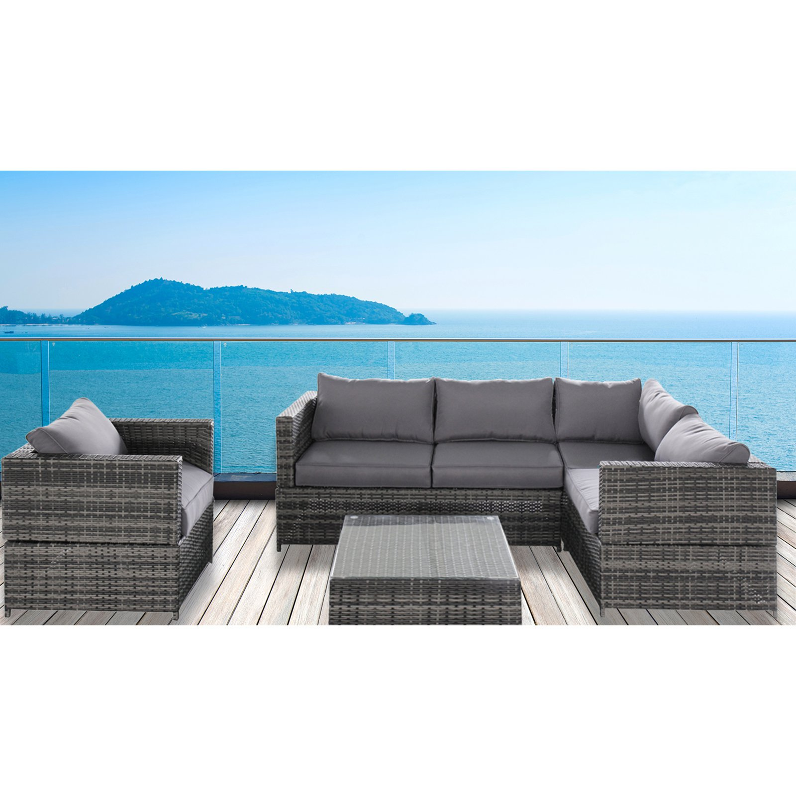 Magari Outdoor Furniture SJ-15125 Complete 4 pieces PE Wicker Rattan Pool Patio Garden Set with Cushions, Grey by Caesar Hardware