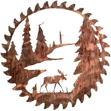 7055 817865020841 Buzz Blade Moose Metal Wall Art - Distressed Copper - image 1 de 1