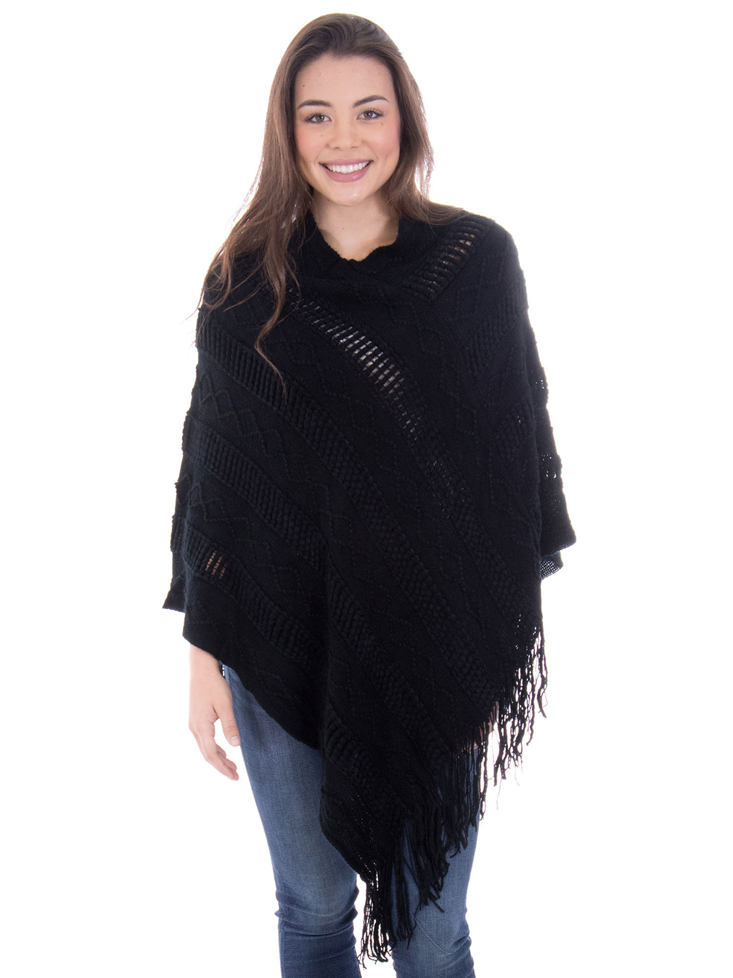 Click here to buy Ponchos for Women Knitted Pullover Sweater Poncho Shawl Burgundy.