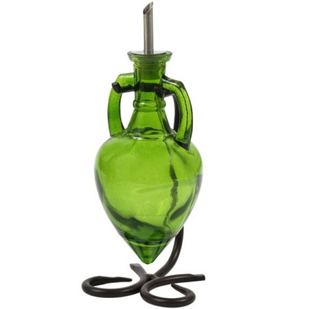 Vinegar and Oil Dispenser, Olive Oil Pourer or Glass Soap Dispenser G231VM Lime Green Amphora Style Glass Bottle. Glass Bottle with Stainless Steel Pour Spout, Cork and Powder Coated Black Metal Stand