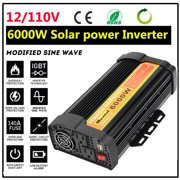 5000W 6000W Peak 10000W 12000W Modified Sine Wave Converter Solar Power Inverter 12V DC To 110V AC Adapter Switch Over Temperature Protection 2-USB Port for Car Outdoor Househol