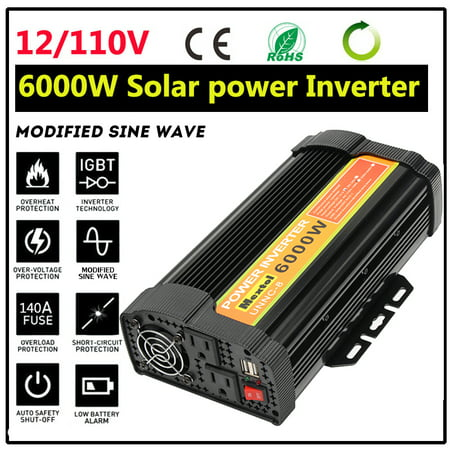 Solar Power Inverter 1000W/1500W/3000W/5000W/6000W DC 12V To AC 110V Modified/Pure Sine Wave Converters LED 2-USB Adapter Temperature Protection For TV DVD Player Home Car Outdoors
