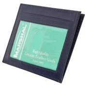 Premium High quality Navy Blue Genuine Leather Slim Simple ID Credit Card Holder Thin Wallet