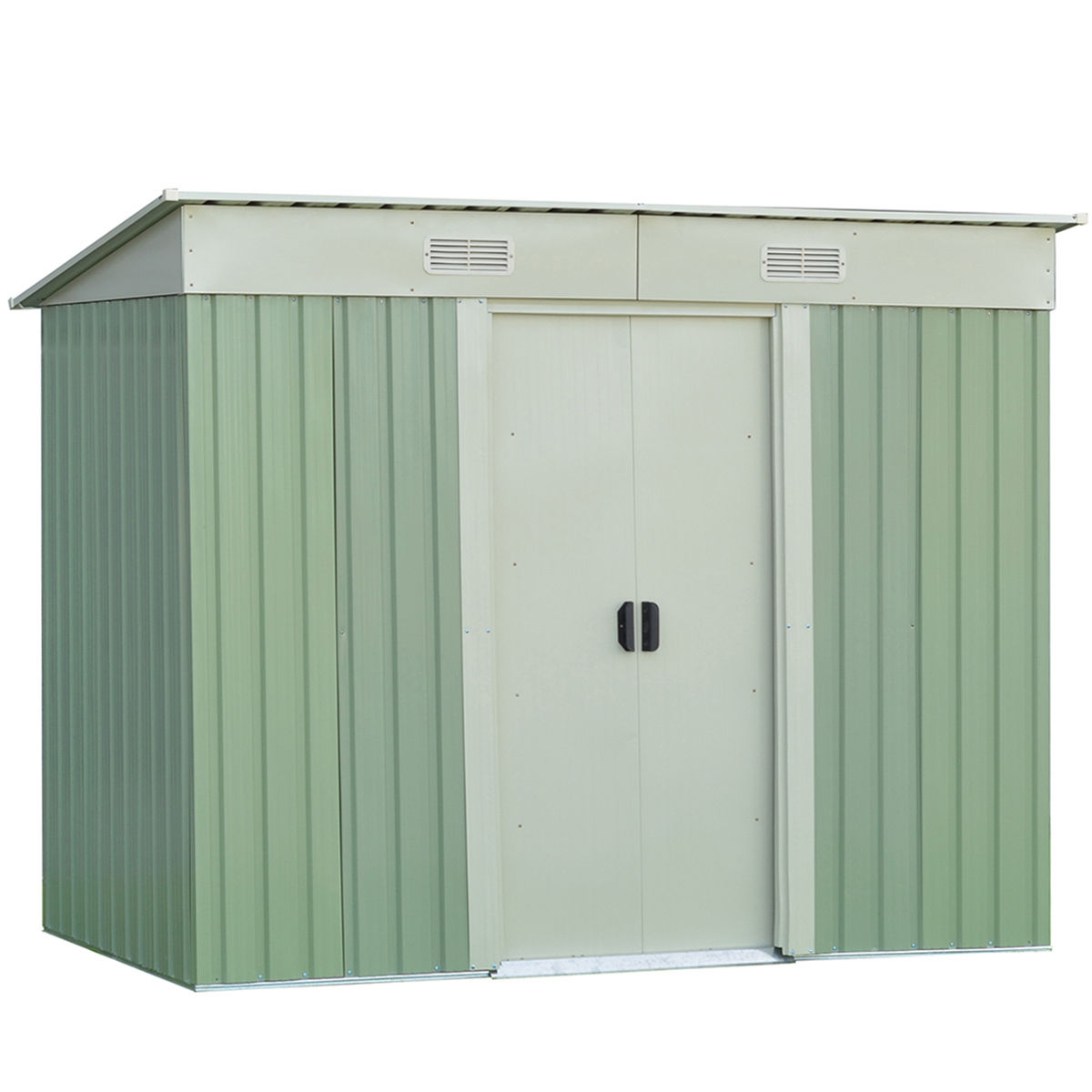 Costway 4 x8FT Outdoor Garden Storage Shed Tool House Sliding Door Steel Green