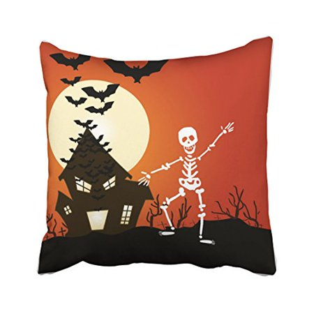 WinHome Vintage Funny Dancing Skeletons Bone House Bat Popular Polyester 18 x 18 Inch Square Throw Pillow Covers With Hidden Zipper Home Sofa Cushion Decorative